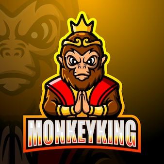 Monkey king mascotte esport logo design