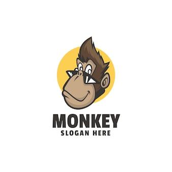Modello di logo di stile del fumetto della mascotte della scimmia
