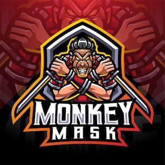 Logo della mascotte di scimmia maschera ninja esport