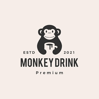Logo vintage di scimmia tazza bere caffè hipster