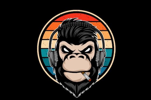 Design retrò di musica scimmia