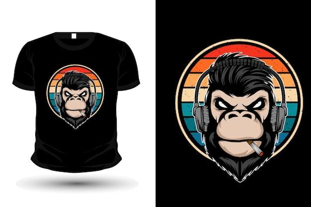 Design t-shirt retrò con musica scimmia