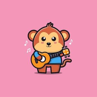 Scimmia suona la chitarra