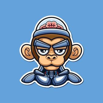 Scimmia robot concettuale cyberpunk personaggio creativo cartoon logo design