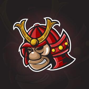 Testa di samurai monkey logo illustration