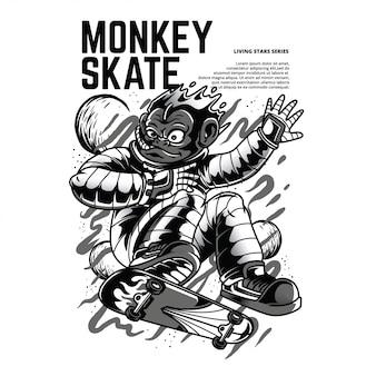 Illustrazione in bianco e nero del pattino della scimmia