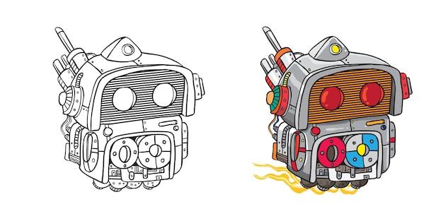 Illustrazione di arte linea mono robot volante con e senza colore