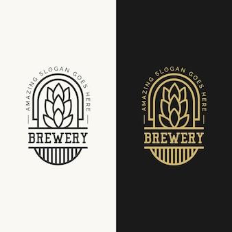 Concetto di design del logo del birrificio mono linea