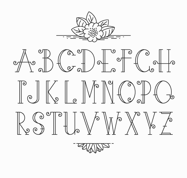 Carattere decorativo mono linea. alfabeto latino di lettere di contorno vintage.
