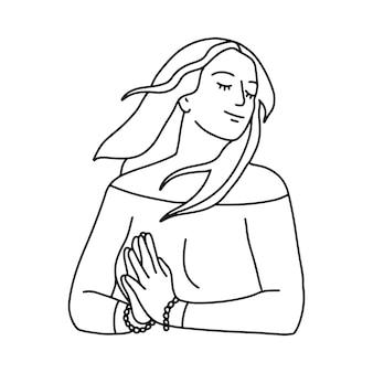 Disegno a tratteggio mono della donna felice che tiene le mani del gesto namaste. i capelli di una ragazza svolazzano al vento. illustrazione vettoriale lineare