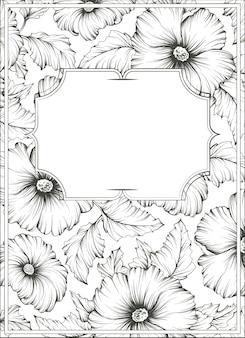 Illustrazione botanica contorno monocromatico, sfondo con fiori e foglie di malva.