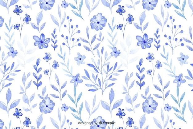 Sfondo di fiori blu dell'acquerello monocromatico Vettore Premium