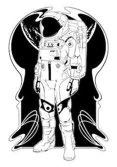 Vettore monocromatico dell'illustrazione del tatuaggio dell'astronauta
