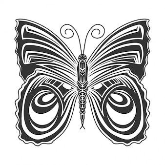 Immagine farfalla monocromatica, disegno in stile retrò. isolato su bianco
