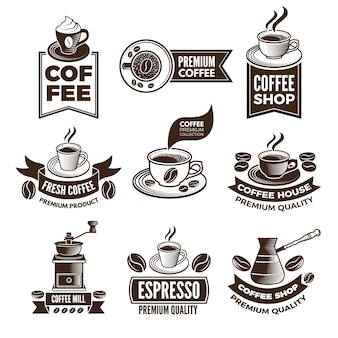 Etichette di caffè monocromatiche in stile retrò. illustrazioni impostate con posto per il testo. emblema classico del caffè premium, bevanda per caffè espresso