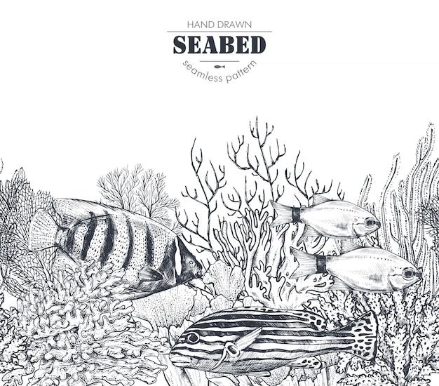 Illustrazione monocromatica della barriera corallina con pesci tropicali