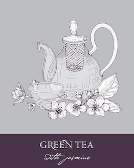 Disegno monocromatico di teiera, tazza di tè verde, foglie di gelsomino e fiori su grigio