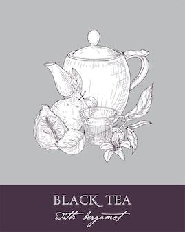 Disegno monocromatico di teiera, tazza, foglie di tè, fiori e frutta fresca di bergamotto su grigio