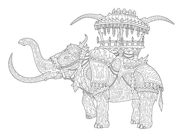 Illustrazione lineare di fantasia monocromatica per la pagina del libro da colorare per adulti con mammut cavalcabile stilizzato