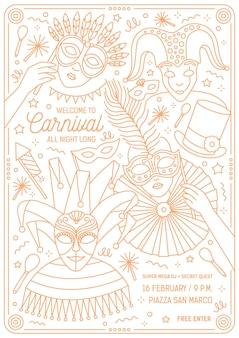 Volantino monocromatico, poster o modello di invito per ballo in maschera veneziano, carnevale mardi gras, festival o festa con personaggi che indossano maschere festive