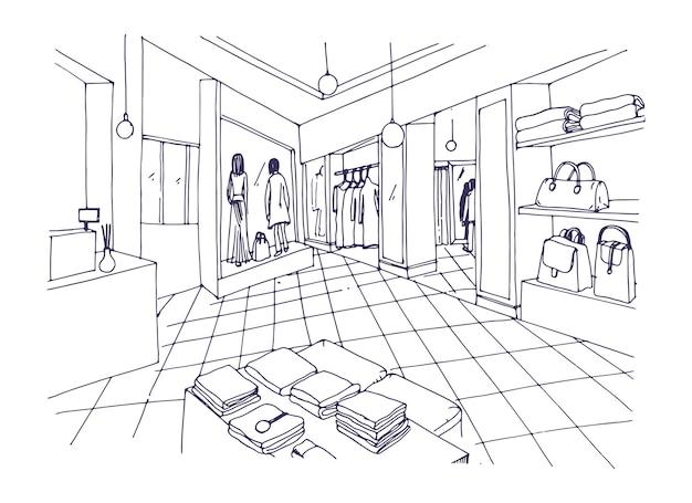 Schizzo a mano libera monocromatico di showroom di abbigliamento,