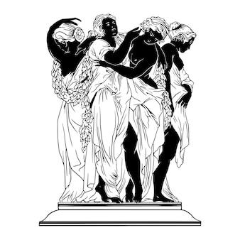 Illustrazione statua donna greca monocromatica