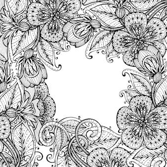Fiori fantasia disegnati a mano monocromatici su carta sfondo bianco per saluto o invito, illustrazione.