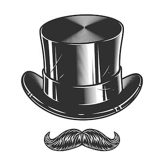 Illustrazione monocromatica di cappello a cilindro e baffi