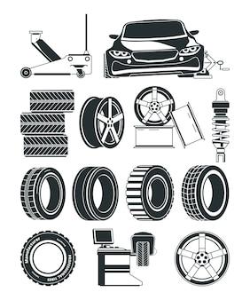 Illustrazioni monocromatiche di pneumatici, simboli di servizio, ruote e automobili. pneumatico riparazione servizio auto, vulcanizzazione stazione