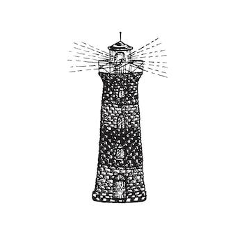 Illustrazione di schizzo di doodle del tatuaggio del blackwork del faro disegnato a mano dell'inchiostro monocromatico