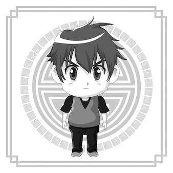 Simbolo giapponese monocromatico con l'espressione facciale dell'adolescente sveglio di anime della siluetta arrabbiato