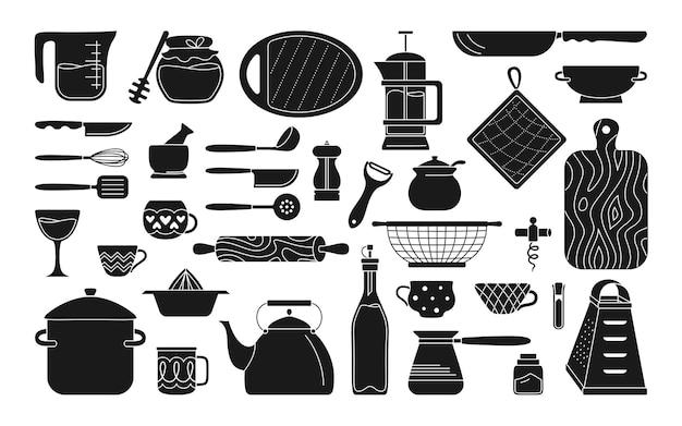 Collezione di utensili da cucina monocromatica