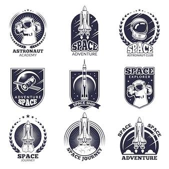 Etichette monocromatiche per astronauti. Vettore Premium