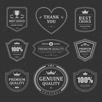 Set di etichette e distintivi monocromatici