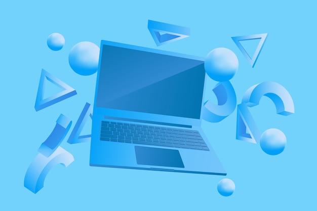 Illustrazione vettoriale monocromatica del computer portatile con forme astratte
