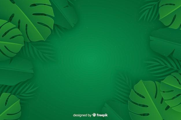 Sfondo di foglie monocromatiche con pianta di monstera