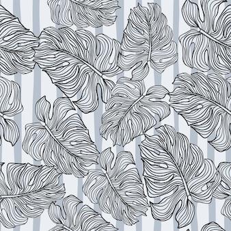 Modello senza cuciture di sagoma di foglie di monstera monocromatica su sfondo a strisce