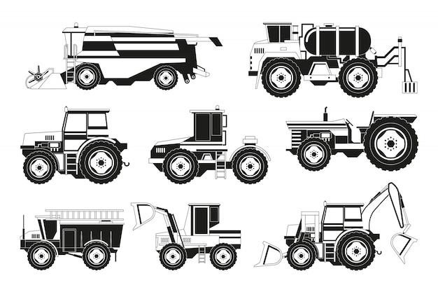 Immagini in bianco e nero di macchine agricole