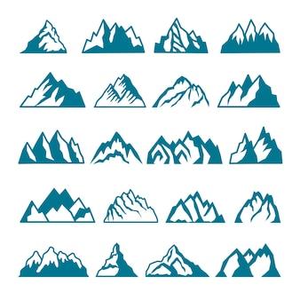 Insieme di immagini monocromatiche di diverse montagne. collezioni per etichette. siluetta della roccia della montagna, vulcano e illustrazione della pietra della collina