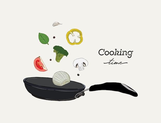 Disegno realistico monocromatico di padella wok e verdure
