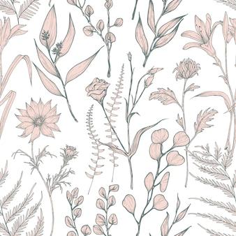 Modello senza cuciture monocromatico con fiori selvatici in fiore disegnati a mano