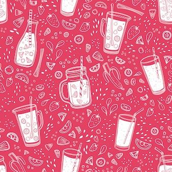 Modello senza cuciture monocromatico con deliziose bevande analcoliche, gustosi succhi o frullati rinfrescanti disegnati con linee di contorno su rosa