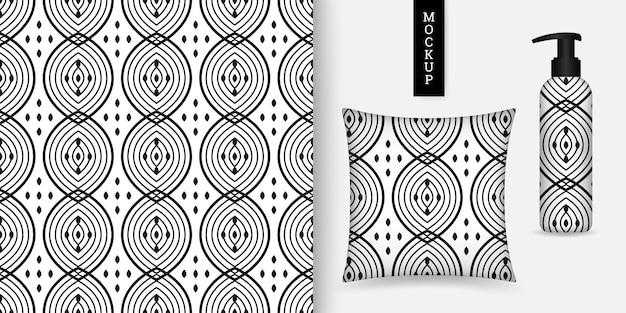 Motivo monocromatico senza cuciture con eleganti forme geometriche flacone cosmetico e cuscino
