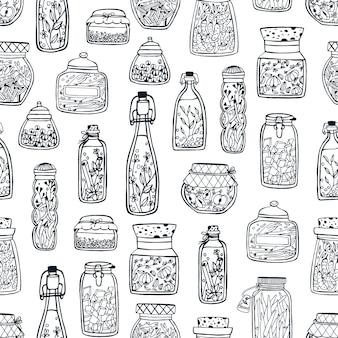 Modello monocromatico senza cuciture con conserve fatte in casa in barattoli di vetro e bottiglie disegnate a mano con linee di contorno nere su bianco