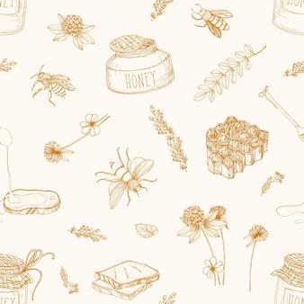 Modello monocromatico senza cuciture con miele, api, mestolo, pane, nido d'ape, trifoglio, tiglio e piante di acacia