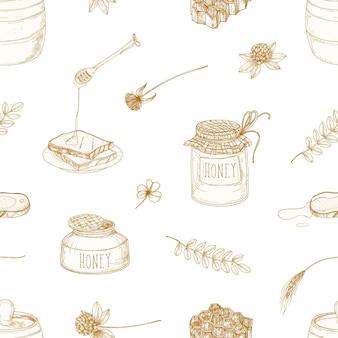 Modello senza cuciture monocromatico con miele, mestolo, fette di pane, nido d'ape, trifoglio, barattolo e botte disegnati con linee di contorno