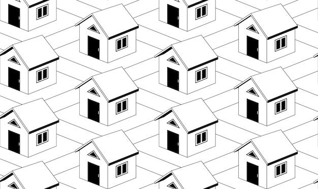 Modello senza cuciture monocromatico con case