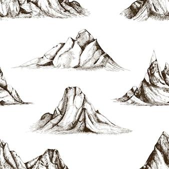 Modello senza cuciture monocromatico con picchi di montagna disegnati a mano con linee di contorno su sfondo bianco