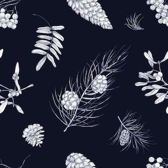 Modello monocromatico senza cuciture con parti di piante invernali - vischio, rami di conifere, coni, bacche e foglie di sorbo