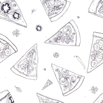 Il modello senza cuciture monocromatico con le fette di tipi e di ingredienti differenti della pizza ha sparso intorno su fondo bianco. illustrazione per menu ristorante o pizzeria, servizio di consegna.
